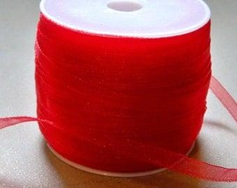 "Red Organza Ribbon-1/8""-10 YDS"