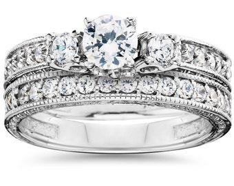 1.50CT Vintage Diamond Engagement Wedding Ring Hand Engraved Antique Bridal Set