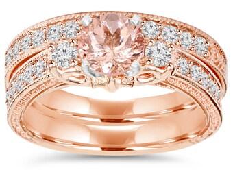 Rose Gold Morganite Diamond Engagement Vintage Ring 2 CT Morganite & Diamond Vintage Engagement Wedding Ring Matching Band set 14K Rose Gold