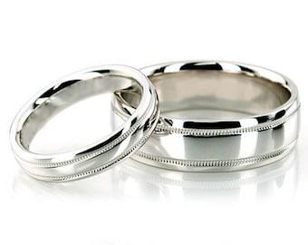 Milgrain Wedding Band Set 10K White Gold
