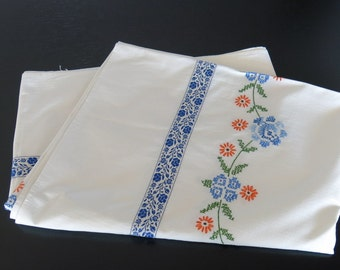 White Percale Tablecloth Blue and White Braid Trim Blue Orange Cross Stitch Design 793+