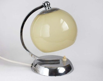 1930s Art Deco/ Bauhaus Table Lamp or Wall Light /Sconce. Chrome and Beige Glass