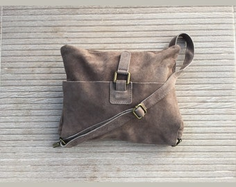 BOHO  suede leather bag in STONE BEIGE. Soft natural leather bag