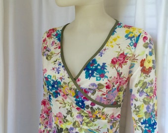 Floral v-neck dress, retro 40's, 50's dress, summer dress, 3/4 sleeves, knee length, BRIDESMAID, loose skirt