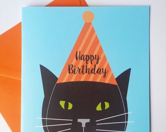 Black Cat Birthday Card - Black cat with party hat - pink or orange