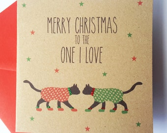 Black Cat Christmas Card - To the one I love
