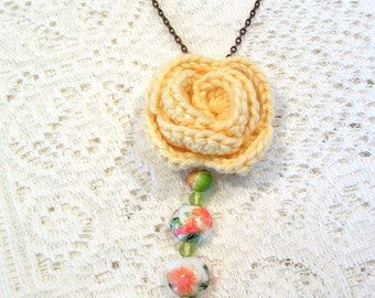 Yellow Crochet Rose Pendant Necklace - Crochet Flower Necklace - Handmade Unique Jewelry - Boho Rose Necklace - Mother's Day Gift