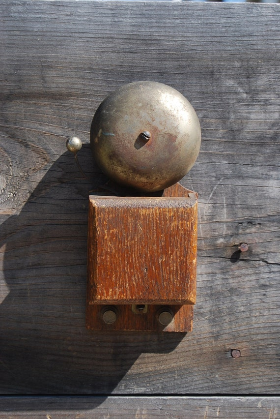 Antique Electric Alarm Bell Vintage Wall Bell Primitive Wood