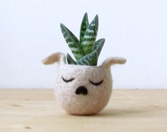 Succulent planter / dog head planter / cactus vase / puppy planter / valentines gift / Cute dog lover gift / gift for her