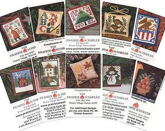 10 Mini-Card Set Collection B : cross stitch patterns Prairie Schooler Halloween Christmas Santa Claus snowman Easter 4th of July embroidery