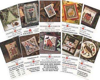 10 Mini-Card Set Collection C : cross stitch patterns Prairie Schooler Halloween Christmas Santa Claus snowman Easter 4th of July embroidery