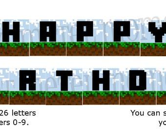 Pixel World Party - Printable Alphabet Banner [Instant Download]