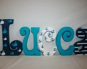 Whale themed nursery decor Nautical wood letters 5 letter set Custom name letters Wood nautical decor Blue and white nautical decor