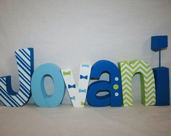 Custom wood letters, Little man decor, 6 letter set, Little man baby shower, Wooden letters for nursery, Freestanding wood letters