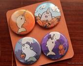 Fallwhals: Autumn Narwhals Pinback Buttons