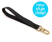 Wrist Strap by MinneBites / Handmade Gray Keychain - Black Fabric Strap - Mens Key Lanyard - Wallet Wrist Strap for Guys - Ready to Ship