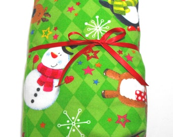Flannel Fitted Sheet Christmas with Penguins Reindeer Snowman on Green