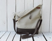 Leather tote bag ~ Canvas messenger crossbody convertible shoulder bag, zipper unisex laptop carrier, unique gift, adjustable strap,