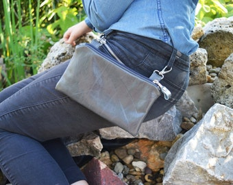 Leather belt bag, gray unisex hipster bag, phone covers, rustic bike bag, bicycle belt bag, zipper case, unique gift