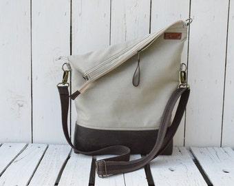Leather tote bag ~ Canvas messenger crossbody convertible shoulder bag, zipper unisex laptop carrier, unique gift, adjustable strap,