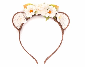 Lace Bear Ears Headband - Floral Bear Ears - Lolita Bear Ears - Boho Headband - Bohemian Headband - Kawaii Ears - Adult Headband - Mori