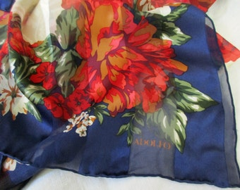 vintage Adolfo silk scarf - hand rolled, navy blue, red, roses