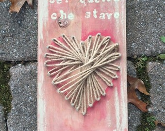 """Italian """"you are the one i have been waiting for"""" string art heart sign in pinks and creams"""
