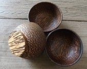 Set of 3 Eco Friendly Palm Wood Dipping Sauce Bowls 3 inches Small Party size