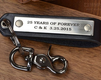 Personalized Custom Keychain, Stainless Steel & Black Leather | Personalize with ANY TEXT up to 40 characters, Handcrafted in USA