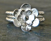 Silver flower ring, sterling silver stacking ring set of three 3, large flower ring, serendipity women's handmade jewelry