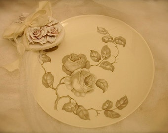 Vintage rose design serving plate by Castleton China-Dawn Rose Pattern, porcelain rose plate, rose motif serving plate