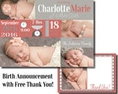 Birth Announcement - Digital File - with free thank you boy or girl - baby announcement