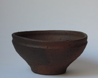 Wood Fired Bowl, Reduction Cooled Local California Clay, #675