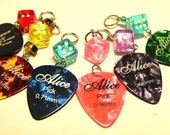 Destash Lot of Pearly Guitar Pick Charm Pendants w/ Dice - Pre- Drilled Holes Jewelry Making - Scrapbooks