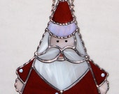Christmas Holiday Stained Glass Suncatcher - Santa Claus in Red Suite, Old St Nick, Pick Red or Green Suit