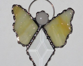 Stained Glass Suncatcher - Angel, Clear Glass Bevel with Gem, Ornament, Pick a Color