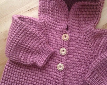 Plum-wine Rose Crochet Sweater with Hood Girl - MADE TO ORDER - Tunisian Crochet - Handmade