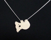 Cute Koala Necklace - Silver Koala Bear Jewelry - Animal Necklace - Quirky Jewelry - Australia Gift for Wife