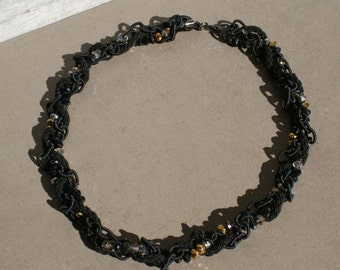 Black and gold, braided beaded necklace