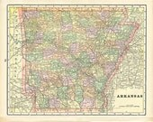 ARKANSAS and LOUISIANA  U.S.A. STATE Maps from 'The Home Knowledge Atlas' Original Double-Sided Book Page