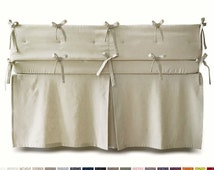 Custom crib bedding, linen crib set, crib bumper, crib skirt, crib fitted sheet, linen crib bumper, linen crib skirt, box pleat crib skirt
