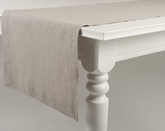 Natural linen table runner Classic hem Mitered corners Flax grey or custom color soft table linen