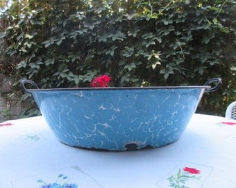 Vintage Enamelware Blue Swirl Handled Basin Chippy Tub Planter French Country