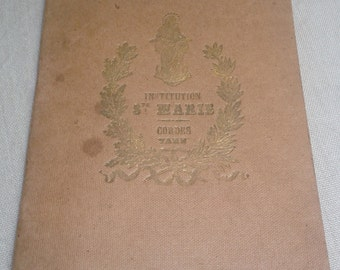 French antique cahier or notebook from 1895