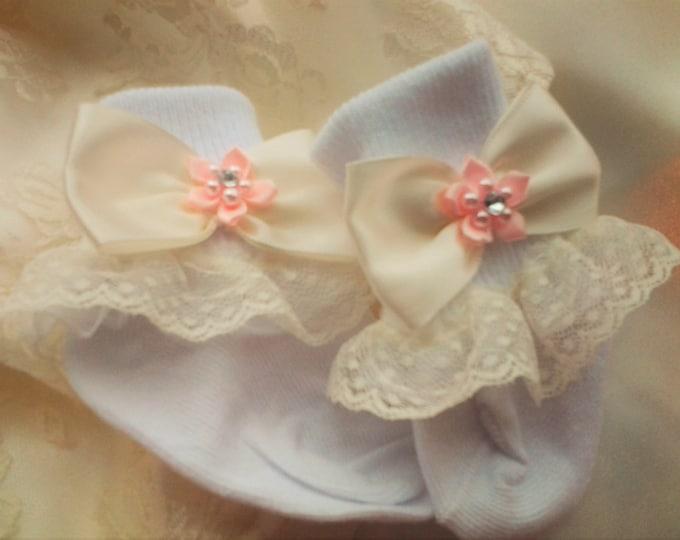 Newborn Girl Layette Lace Ruffled Socks