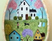 Spring Folk Art Painting Primitive Egg-Shaped Bowl -  READY TO  SHIP - Spring Country Scene, Saltbox houses, Blooming Trees, Kite, Wash Day