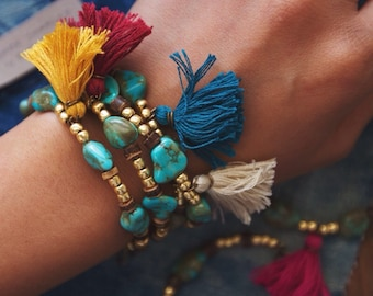 TTB-01, handmade turquoise and gold beads tassle bracelet