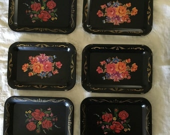 Vintage Set of 6 Retro Black Floral Small Trays