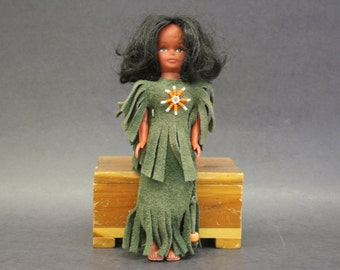Vintage Doll in Green Beaded Leather Outfit (E4115)