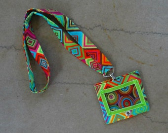 Fabric Lanyard and/or Fabric ID Pouch with 2 pockets